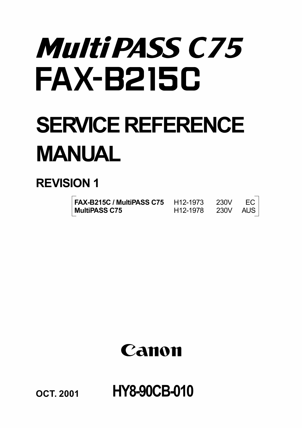 Canon MultiPASS MP-C75 FAX-B215C Parts and Service Manual-1